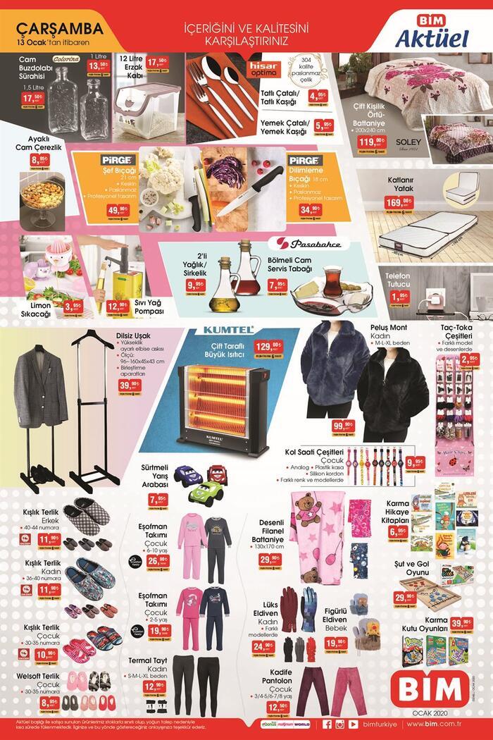 Yarın BİM aktüel kataloğu 13 Ocak 2021 Çarşamba ürünleri neler? BİM kataloğu 3 sayfa! Ekonomi