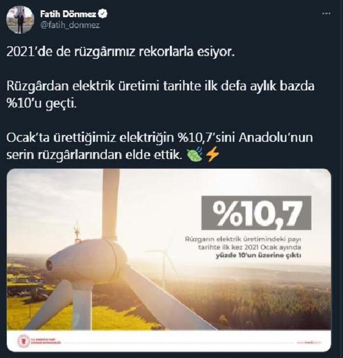 Rüzgârdan elektrik üretimi tarihte ilk defa aylık bazda yüzde 10'u geçti Ekonomi