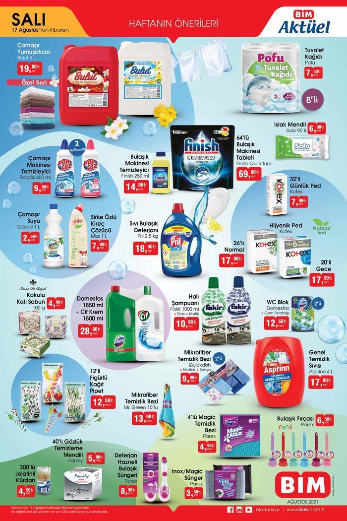 BİM aktüel 17 Ağustos 2021 Salı kataloğu… BİM aktüel ürünler kataloğu temizlik ürünleri ile dolu Ekonomi